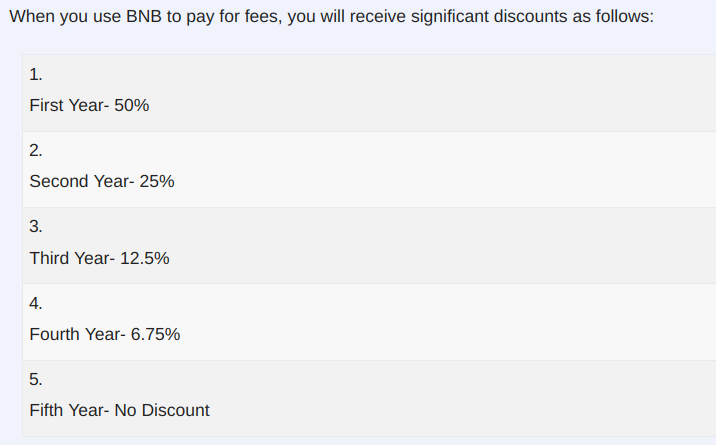 BNB pay for fee
